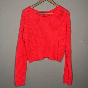 Women's neon coral cropped sweater Sz XL